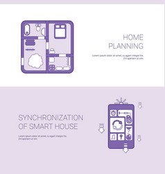 home planning and synchronization of smart house vector image