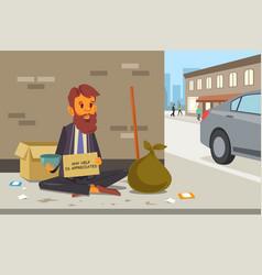 Homeless panhandler on the street vector