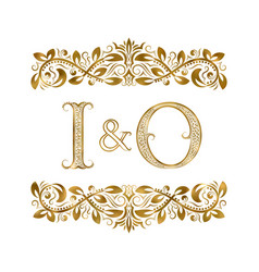 I and o vintage initials logo symbol the letters vector