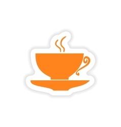 Icon sticker realistic design on paper cofee cup vector