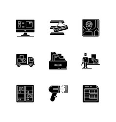 Inventory control and bookkeeping black glyph vector