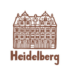 Isolated heidelberg castle in hand drawn style vector