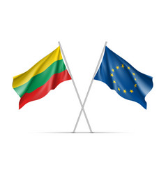 Lithuania and european union waving flags vector