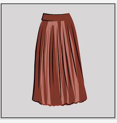 long pleated skirt fashion basic wardrobe vector image
