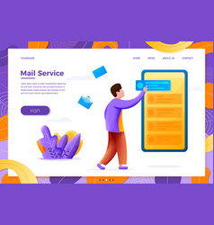 Mail service concept man with mobile phone vector