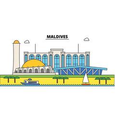 maldives outline city skyline linear vector image vector image