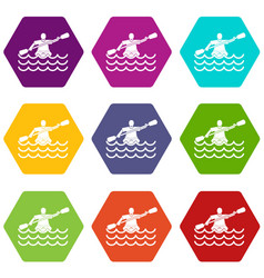 male athlete in a canoe icon set color hexahedron vector image