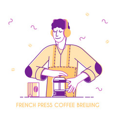 male bartender or hipster character make brewing vector image