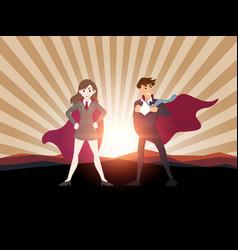 Man and women superhero with sunlight vector