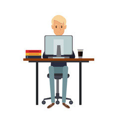 man working sitting in desk computer work space vector image