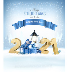 merry christmas background with 2021 and gift vector image