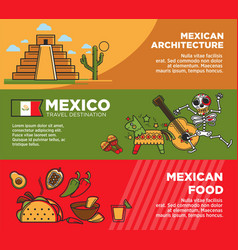 Mexican architecture and food on promotional vector