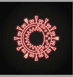 neon coronavirus cell icon in line style vector image