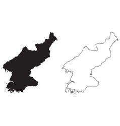 North korea country map black silhouette vector