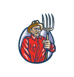 Organic Farmer Holding Pitchfork Woodcut Linocut vector