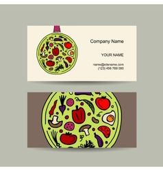 Pan with vegetables Business card design vector