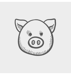 Pig face sketch icon vector image