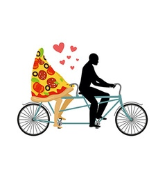 Pizza on bicycle Lovers of cycling Man rolls a vector image vector image