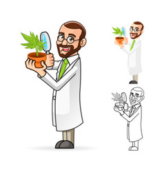 Plant Scientist Looking at a Plant vector