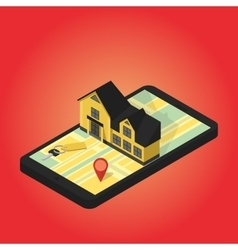 Real estate online searching isometric flat vector image