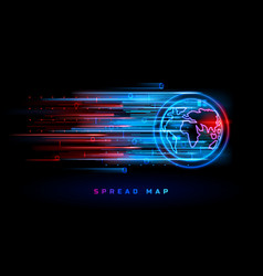 red blue neon world map spread infection hot spots vector image