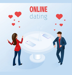 romantic couple with smartphones restaurant table vector image