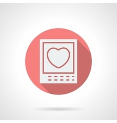 Round pink love photo flat icon vector image