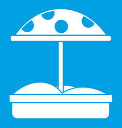 Sandbox with dotted umbrella icon white vector