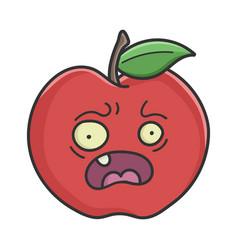 Scared red apple cartoon apple vector