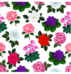 seamless pattern garden flowers bouquets vector image