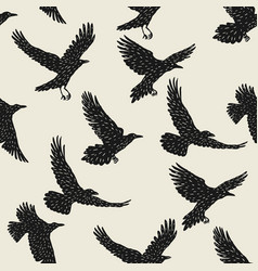 Seamless pattern with black flying ravens hand vector