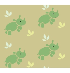 Seamless pattern with funny rhinos vector image