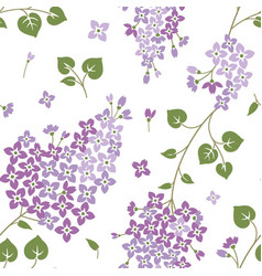 Seamless pattern with lilac flowers floral vector