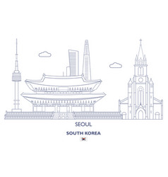 seoul city skyline vector image