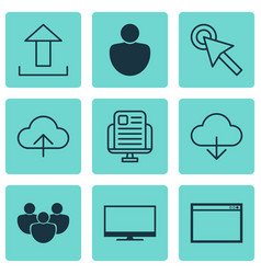 set of 9 internet icons includes data synchronize vector image