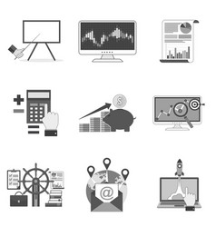 Set of business icons and symbols in trendy flat vector