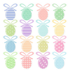 set of colorful easter eggs with with ribbons vector image