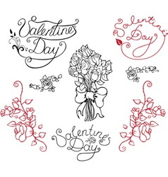 Set of elements for Valentine Day vector image