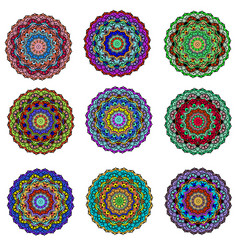 set ornament circular mandala colored ornamental vector image