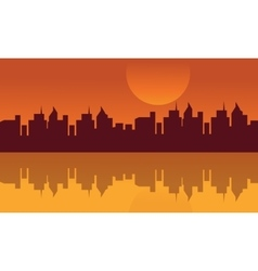 Silhouette of city and rerflection in water vector