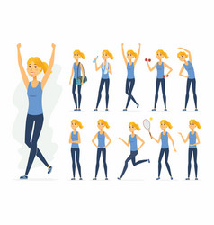 sportswoman - cartoon people character set vector image