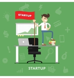Startup business project process flat vector