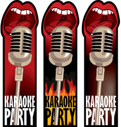 Stickers for a karaoke party vector