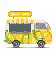 Sweet corn street food caravan trailer vector