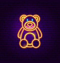 Teddy bear neon sign vector