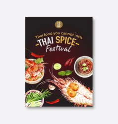 Thai food poster design with shrimp tom yum soup vector
