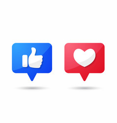 Thumb up and heart icon empathetic emoji vector