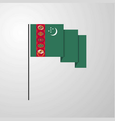 Turkmenistan waving flag creative background vector