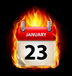 twenty-third january in calendar burning icon on vector image