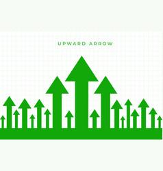 Upward moving growth green arrow business vector
